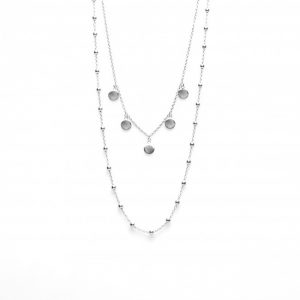 Double Necklace Dots 5 Discus Silver