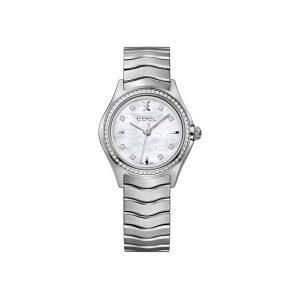 Dmes horloge met briljanten lunette uit de Ebel Wave collection - uitgevoerd met een stalen band en kast en voorzien van een parelmoer wijzerplaat - De Ebel collectie is verkrijgbaar bij Sparnaaij Juweliers in Aalsmeer