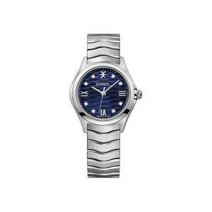 Dames horloge uit de Ebel Wave Lady collection - uitgevoerd met een blauwe wijzerplaat met diamant en een stalen band - De Ebel collectie is verkrijgbaar bij Sparnaaij Juweliers in Aalsmeer