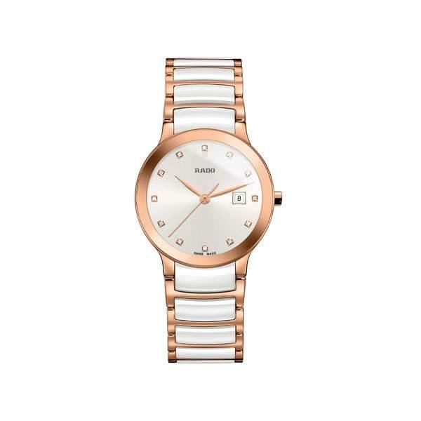 Dames horloge uit de Rado Centrix collection - uitgevoerd in Rose PVD en wit keramiek - voorzien van een quartz uurwerk en saffier glas - De Rado collectie is verkrijgbaar bij Sparnaaij Juweliers in Aalsmeer