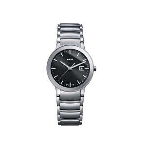 Dames horloge uit de Rado Centrix collection - uitgevoerd met stalen kast en band en een zwarte wijzerplaat - dit model is voorzien van een quartz uurwerk en een saffier glas - De Rado collectie is verkrijgbaar bij Sparnaaij Juweliers in Aalsmeer