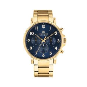 Tommy Hilfiger herenhorloge - Horloge met goudkleurige RVS band en blauwe wijzerplaat - Te koop bij Sparnaaij Juweliers in Aalsmeer