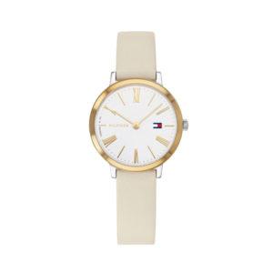 Tommy Hilfiger dameshorloge - Horloge met wit leren band met witte wijzerplaat met goudkleurige kast- Te koop bij Sparnaaij Juweliers in Aalsmeer