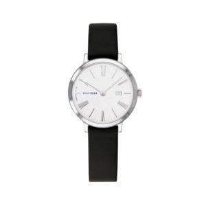 Tommy Hilfiger herenhorloge - Horloge met zwart leren band en witte wijzerplaat - Te koop bij Sparnaaij Juweliers in Aalsmeer