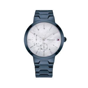 Tommy Hilfiger dameshorloge - Horloge met blauwe rvs band met witte wijzerplaat - Te koop bij Sparnaaij Juweliers in Aalsmeer