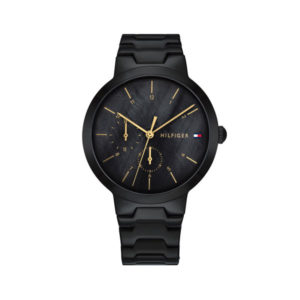 Tommy Hilfiger dameshorloge - Horloge met zwarte rvs band met zwarte wijzerplaat - Te koop bij Sparnaaij Juweliers in Aalsmeer