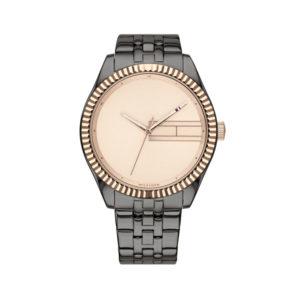 Tommy Hilfiger herenhorloge - Horloge met grijze rvs band met beige wijzerplaat - Te koop bij Sparnaaij Juweliers in Aalsmeer