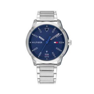 Tommy Hilfiger herenhorloge - Horloge met zilveren rvs band met blauwe wijzerplaat - Te koop bij Sparnaaij Juweliers in Aalsmeer