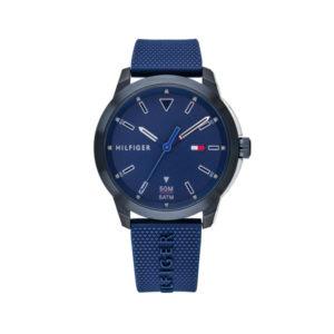 Tommy Hilfiger herenhorloge - Horloge met blauwe siliconen band en blauwe wijzerplaat- Te koop bij Sparnaaij Juweliers in Aalsmeer