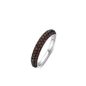 Ti Sento zilveren ring met een bruine plating - Te koop bij Sparnaaij juweliers in Aalsmeer en Hoofddorp