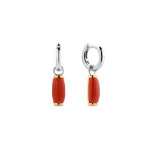 Zilveren oorhangers met koraalkleurige hangers gezet in 18k goud - Te koop bij Sparnaaij Juweliers in Aalsmeer en Hoofddorp