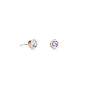 Coeur de Lion oorknoppen - rosé verguld met een lichtblauwe kristal - Te koop bij Sparnaaij Juweliers in Hoofddorp