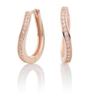 Sparkling Jewels - Creolen crystal rosegoudenplating - Te koop bij Sparnaaij Juweliers in Aalsmeer en Hoofddorp