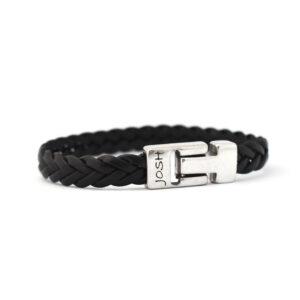 Josh armband - zwart leer - Te koop bij Sparnaaij Juweliers in Hoofddorp