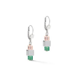 Coeur de lion oorbellen - hematiet en groen kristal - Te koop bij Sparnaaij Juweliers in Hoofddorp